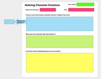 Character Emotions Google Slide Anchor Chart and Student I