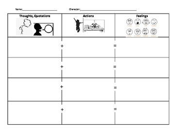 Character Emotions Graphic Organizer