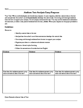 Character Essay Prompt and Evaluative Rubric and Planning