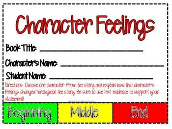 Character Feelings Flip Booklet-EDITABLE VERSION!!