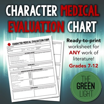 Literary Character Medical Evaluation Chart - Worksheet, Project