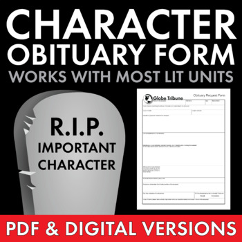 Character Obituary Writing Activity for Gr. 5-12, Use w/al
