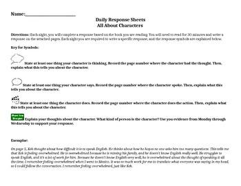 Character Reading Response Weekly Homework
