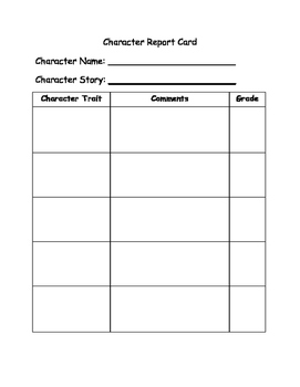 Character Report Card_Fictional Elements_Determining Impor