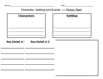 Character, Setting, and Key Details Organizer