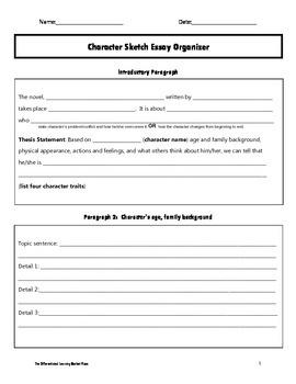 Character Sketch Essay Organizer