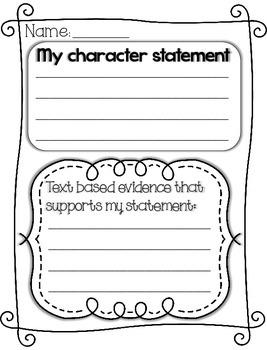 Character Statement Graphic Organizer