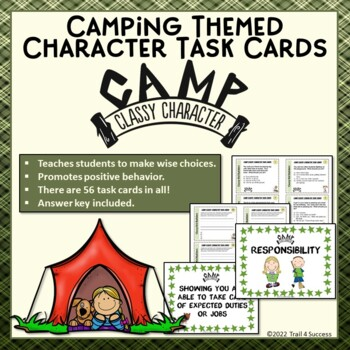 Character Task Cards Promote Positive Behavior - 56 Campin