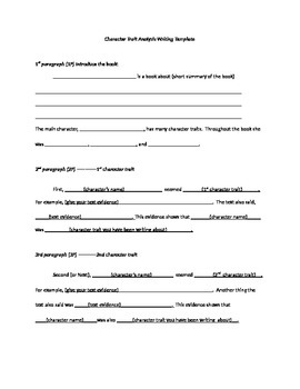 Character Trait Analysis Template