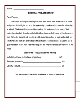 Character Trait At Home Assignment