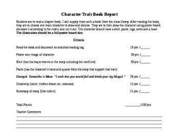 Character Trait Book Report Project