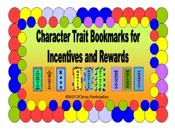 Character Trait Bookmarks for Incentives and Rewards