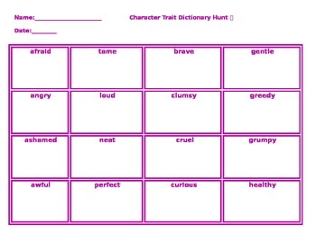 Character Trait Dictionary Hunt