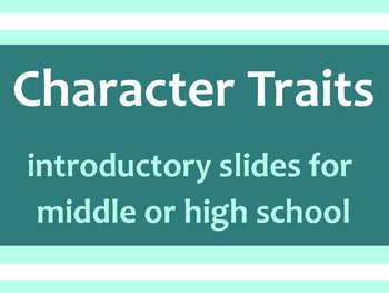 Character Trait Interactive SMART Activity for Middle or H