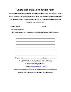 Character Trait Nomination Form