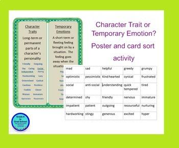 Character Trait VS Temporary Emotion- Poster, mini-lesson,
