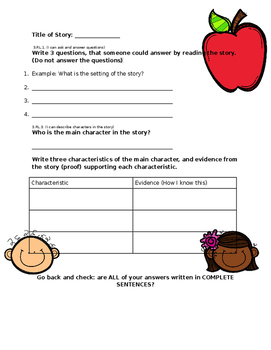 Character Trait and Ask & Answer Question Practice for ANY STORY!