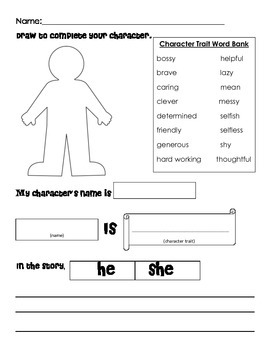 Character Trait- follow up for any book