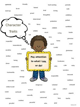 Character Traits Anchor Chart:  PARCC and Common Core Stan
