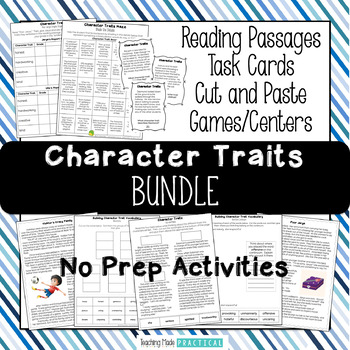 Character Traits Bundle - Reading Passages, Word Wall, Voc