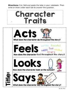 Character Traits Foldable