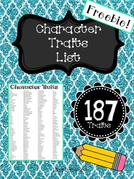 Character Traits List (Can Use for Interactive Notebook Too!)