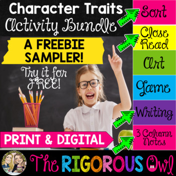 Character Traits Literacy Center FREEBIE by The Rigorous Owl