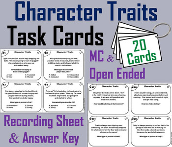 Character Traits Task Cards 3rd 4th 5th 6th Grade Reading