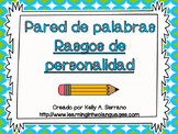 Character Traits Word Wall in Spanish / Pared de palabras