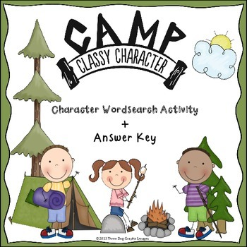 Character Traits Wordsearch Activity - Camping Themed Clas
