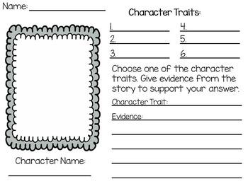 Character Traits Worksheet Printable