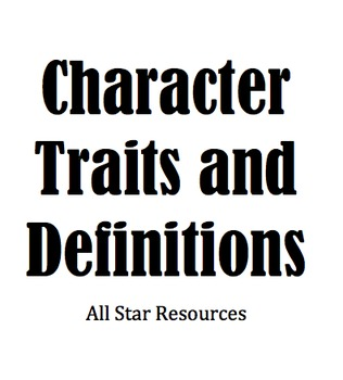 Character Traits and Definitions for Excel or Numbers