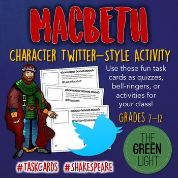Macbeth Twitter-Style Activity Task Cards: Quizzes, Bell-R