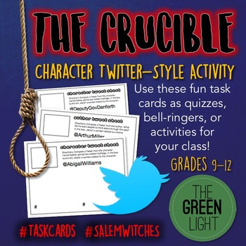 The Crucible Twitter-Style Activity Task Cards: Quizzes, B