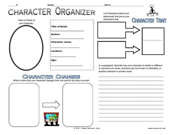 Character graphic organizer for STAAR and Common Core practice