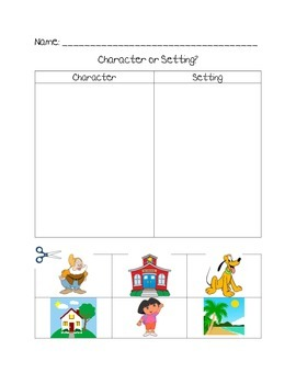 Character or Setting? Cut and Paste Activity