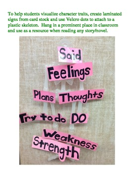 Character Traits Skeleton to hang in classroom