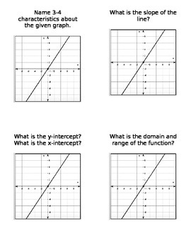Characteristic Cards - Linear, Exponential, Quadratic, Abs