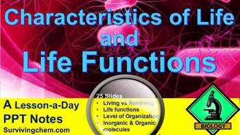 Characteristics of Life & Life Functions: A Lesson a Day P