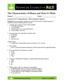 Lesson 6 & 7: Characteristics of Money and How It's Made A