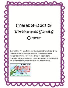 Characteristics of Vertebrates Center
