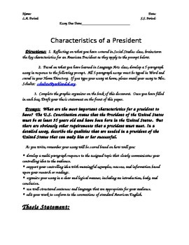 Characteristics of a Good President 5 Paragraph Essay Prom