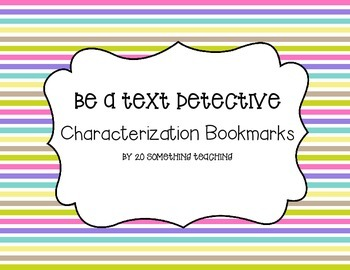 Characterization Bookmarks (Be a Text Detective)- Close Re