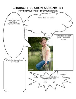 "Characterization Graphic Organizer for ""Boar Out There"" by"