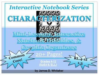 Characterization Interactive Notebook Foldables & Graphic