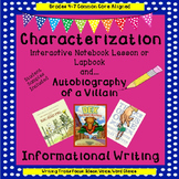 Characterization Interactive Notebook and Lapbook and Auto