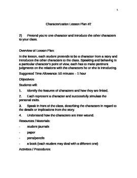 Characterization Lesson Plan Shell #2