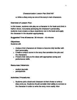 Characterization Lesson Plan Shell #97