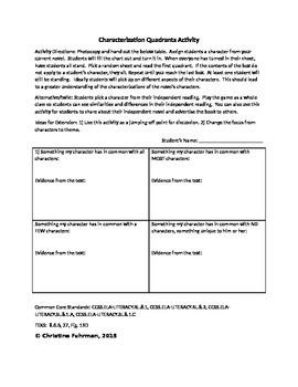 Characterization Quadrant Activity - Novel or Independent Reading