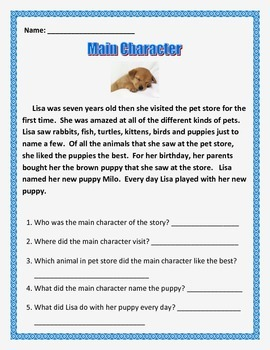 Characters - 3 short stories - Common Core